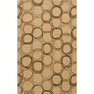 Soho Circles Gold Wool Rug (3' x 5')