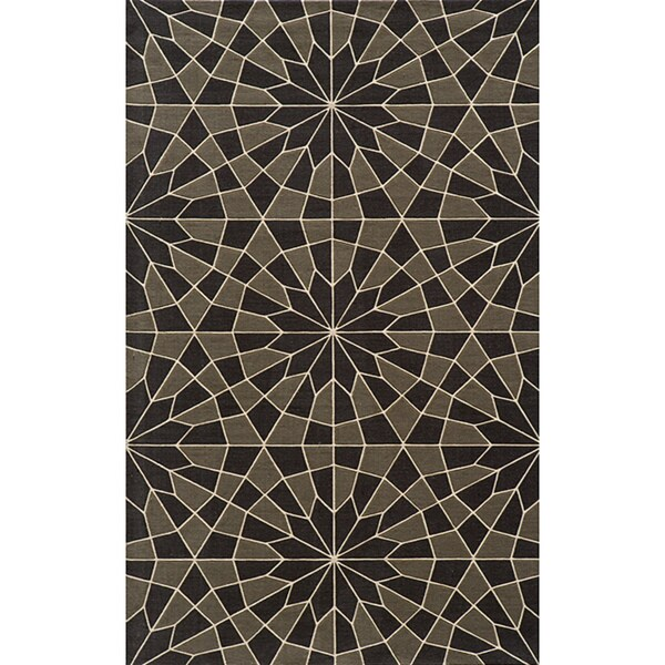 Soho Mosaic Power-Loomed Charcoal Wool Rug (5' x 8')