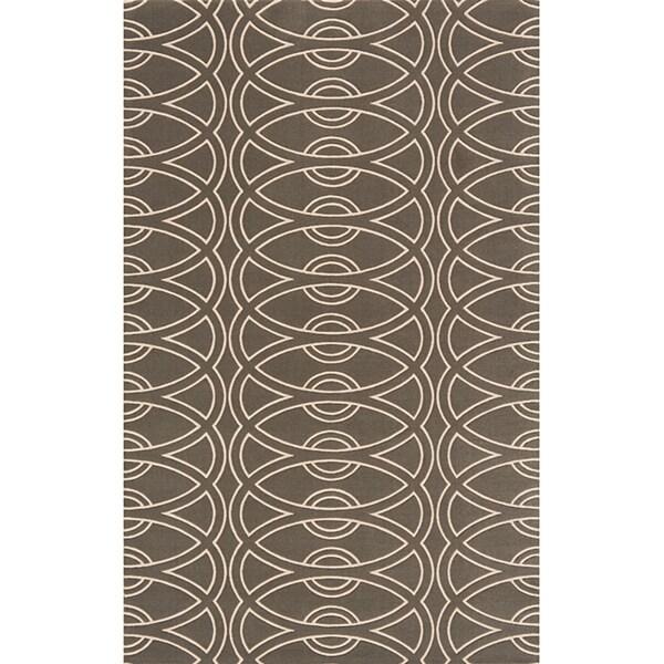 Soho Chic Power-Loomed Grey Wool Rug (8' x 11')