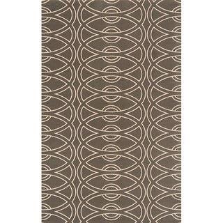 Power-Loomed Soho Chic Grey Wool Rug (5'0 x 8'0)