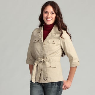 Live a Little Women's Belted Roll Sleeve Jacket