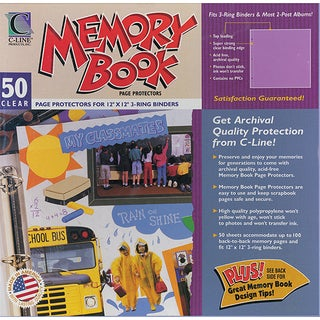 """Memory Book Top-Load Page Protectors 12""""X12""""-3-Ring & Postbound Use, Clear 50/Box"""