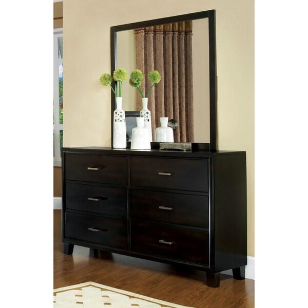 Furniture of America 2-Piece Modern Espresso Dresser with Mirror
