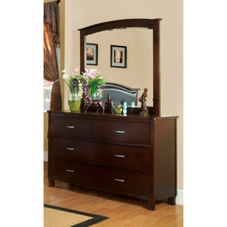 Furniture of America Marilyn 2-Piece Brown Cherry Finish Dresser with Mirror Set