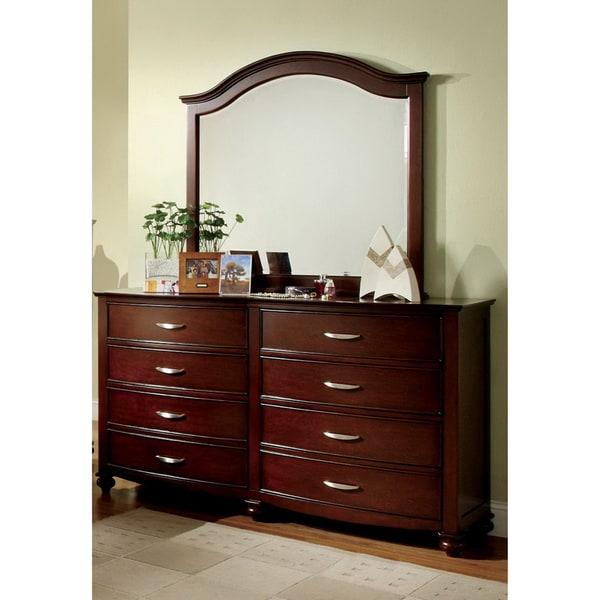 Furniture of America Estella 2-Piece Brown Cherry Finish Dresser with Mirror Set