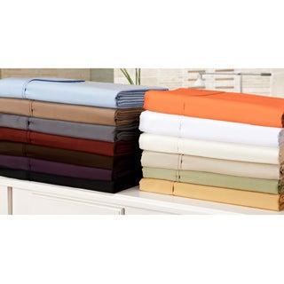 Simple Elegance Microfiber Wrinkle-Resistant Solid Plain Weave Pillowcases (Set of 2)