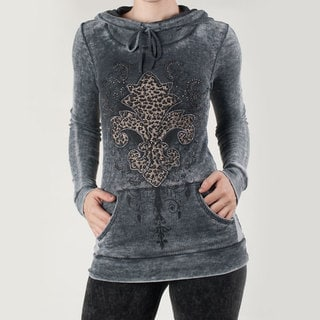 Tabeez Women's Thermal Cowel Neck Fleur de Lis Hoody