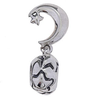 Sterling Silver Moon and Star Dangle Charm Bead