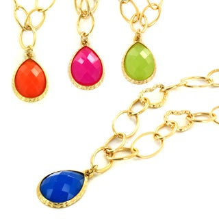 West Coast Jewelry Goldtone Colored Resin Stone Teardrop Necklace