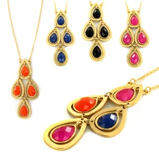 West Coast Jewelry Goldtone Colored Resin Stone Teardrop Cluster Necklace