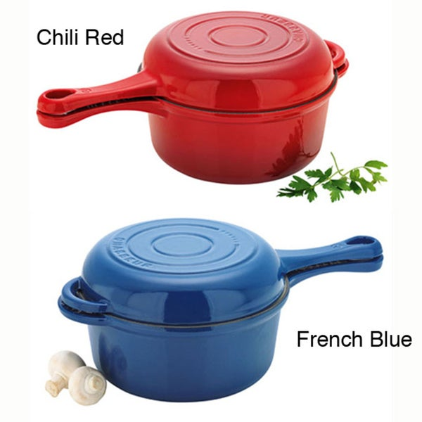 Chasseur French 2.5-quart 'Combi-Cook' 9-inch Cast Iron Sauce Fry Pan Combination Bakeware