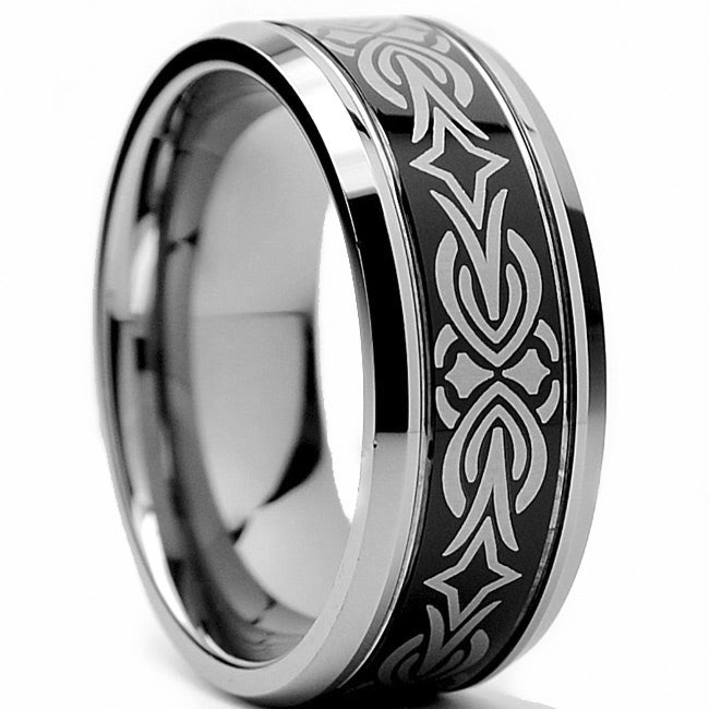 Tungsten Carbide Two-tone Laser-etched Tribal Ring (9 mm)