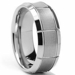 Tungsten Carbide Men's Brushed Concave Center Ring (8 mm)