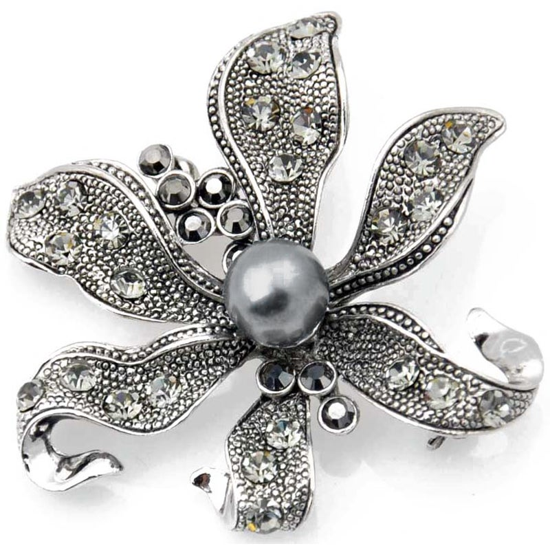 Silvertone Austrian Crystal and Faux Pearl Black Flower Pin
