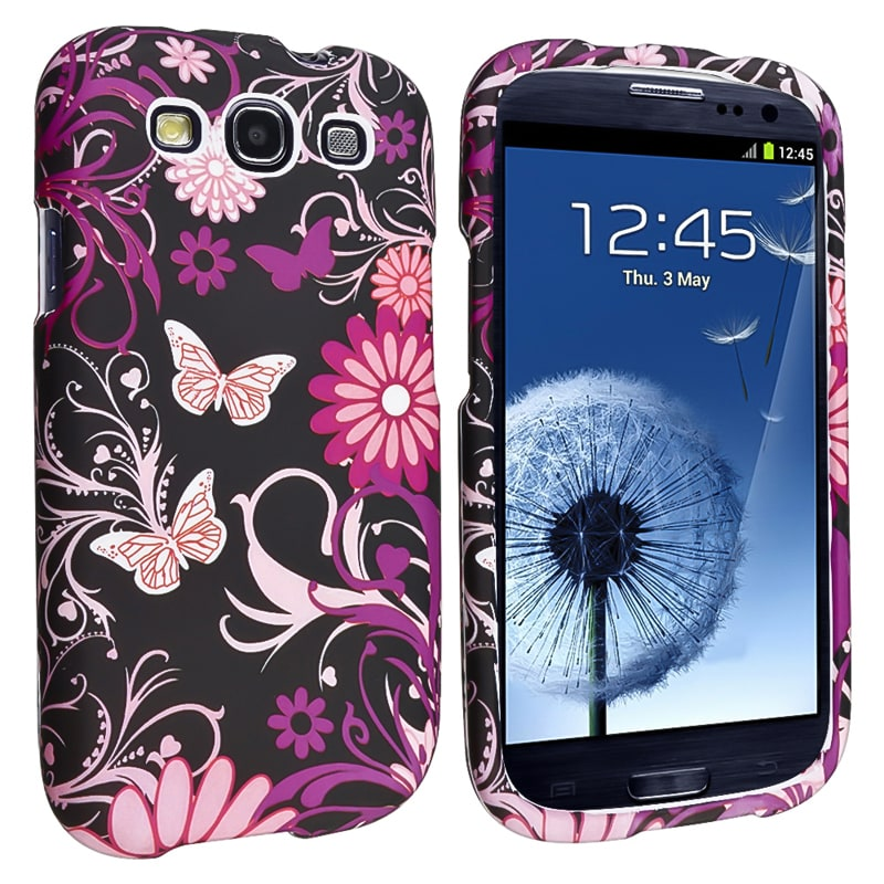 INSTEN Pink Butterfly Snap-on Rubber Coated Phone Case Cover for Samsung Galaxy S III