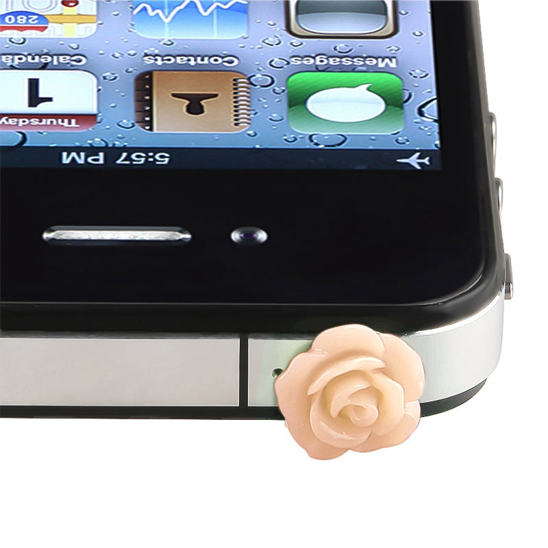 INSTEN Pink Rose Headset Dust Cap for Apple iPhone 4/ 4S/ 5/ 5S/ 6/ iPod
