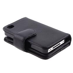 Black Leather Case with Wallet for Apple� iPhone 4/ 4S
