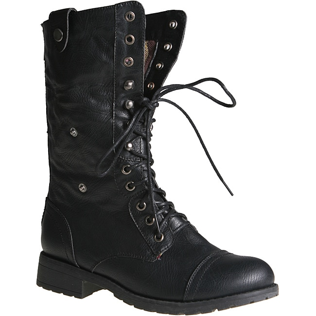 Luxury Tods Womens Black Leather LaceUp Combat Boots 399958201