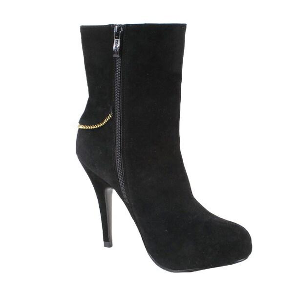 Elegant by Beston Women's 'Calista-2' Black Zip Booties