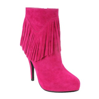 Elegant by Beston Women's 'Calista-1' Fuchsia Fringe Booties
