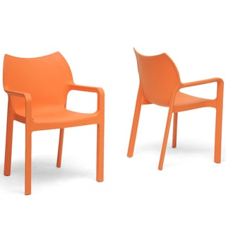 Limerick Orange Plastic Stackable Modern Dining Chairs (Set of 2)