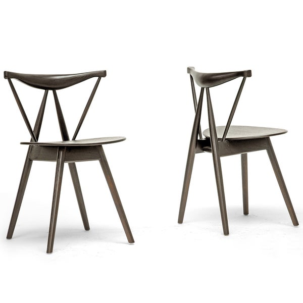 Mercer Brown Wood Modern Dining Chairs Set 600 Peony Retro Dark Walnut Black