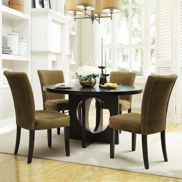 Westmont 5-piece Taupe Corduroy 54-inch Round Dining Set