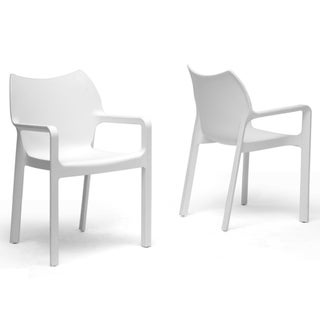 Limerick White Plastic Stackable Modern Dining Chairs (Set of 2)