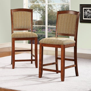 Eadestown Rich Walnut Chenille Cushioned Counter Stool (Set of 2)