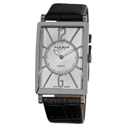 Akribos XXIV Men's Silvertone Rectangular Stainless Steel Diamond Strap Watch