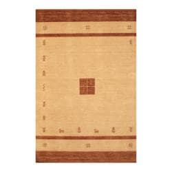 Indo Hand-loomed Beige/ Brown Gabbeh Wool Rug (6' x 9')