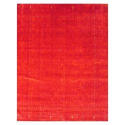 Indo Hand-loomed Red/ Gold Gabbeh Wool Rug (8' x 10')
