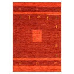 Indo Hand-loomed Burgundy/ Red Gabbeh Wool Rug (8' x 10')