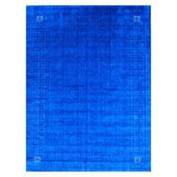 Indo Hand-loomed Blue/ Beige Gabbeh Wool Rug (9' x 12')