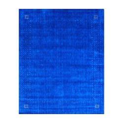 Indo Hand-loomed Blue/ Beige Gabbeh Wool Rug (8' x 10')