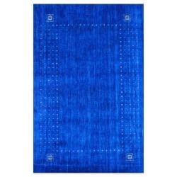 Indo Hand-loomed Blue/ Gold Gabbeh Wool Rug (3' x 5')