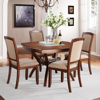 Eadestown Walnut Cracked Glass Design 5-piece Dining Set
