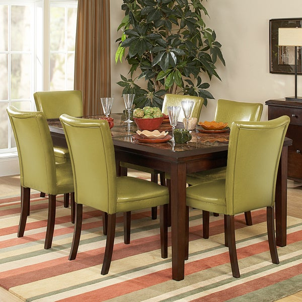 Estonia 7-piece Counter Height Set with Olive Green Chairs