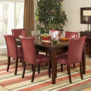 Estonia 7-piece Counter Height Set with Lava Red Chairs