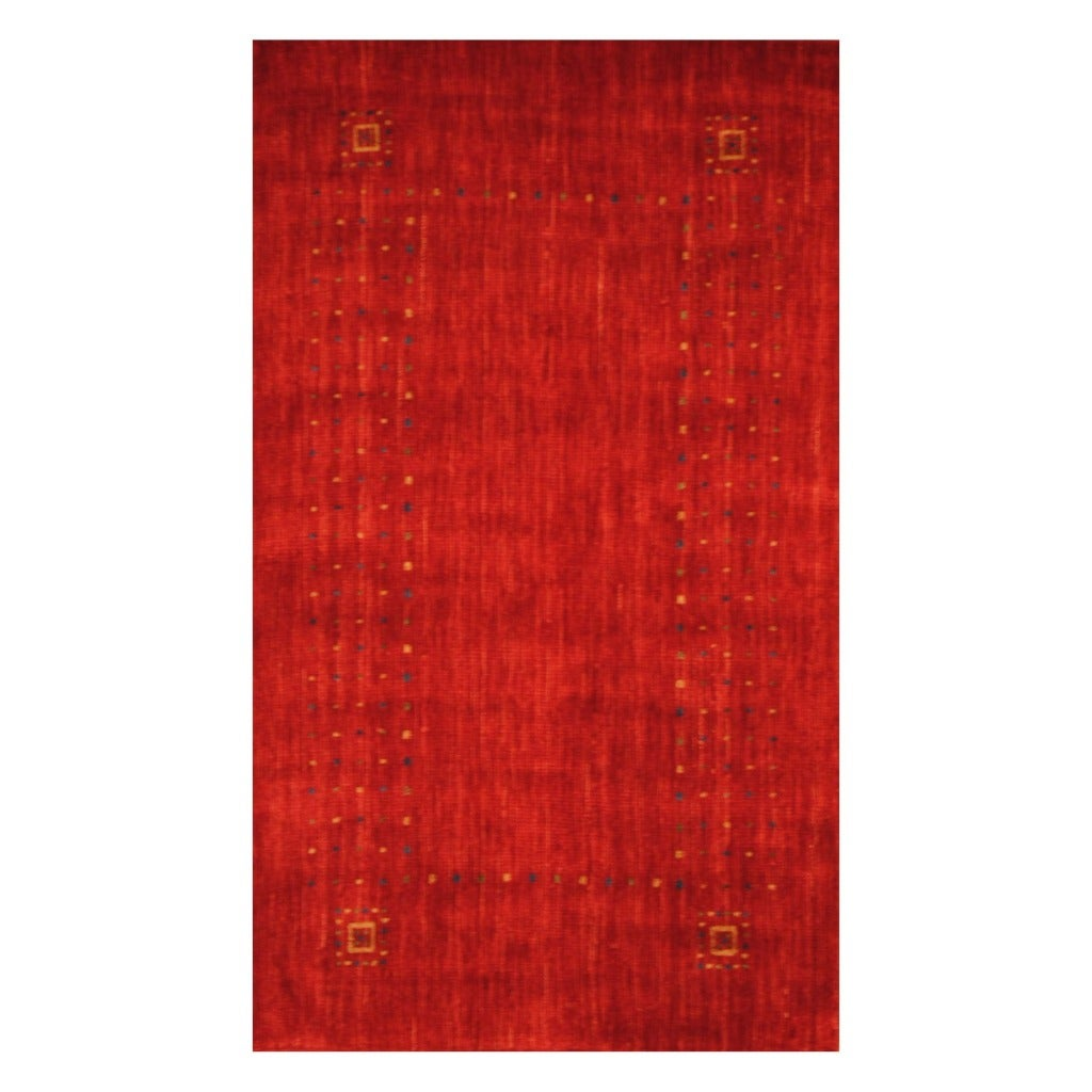 Indo Hand-loomed Red/ Blue Gabbeh Wool Rug (3' x 5')