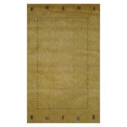 Indo Hand-loomed Beige/ Green Gabbeh Wool Rug (4' x 6')