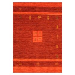Indo Hand-loomed Burgundy/ Red Gabbeh Wool Rug (4' x 6')