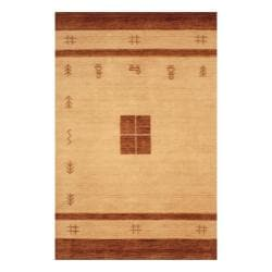 Indo Hand-loomed Ivory/ Brown Gabbeh Wool Rug (4' x 6')