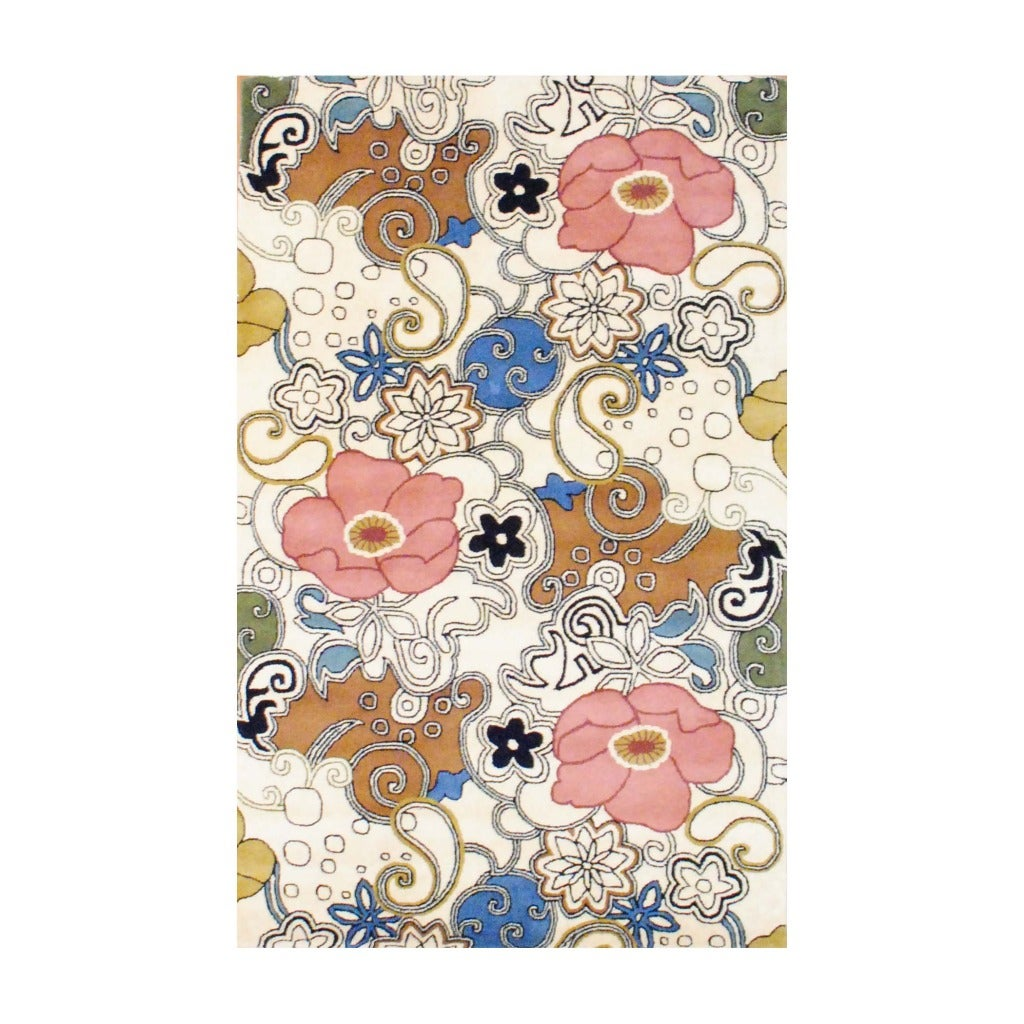 Herat Oriental Indo Hand-tufted Ivory/ Olive Wool Rug (5' x 8')