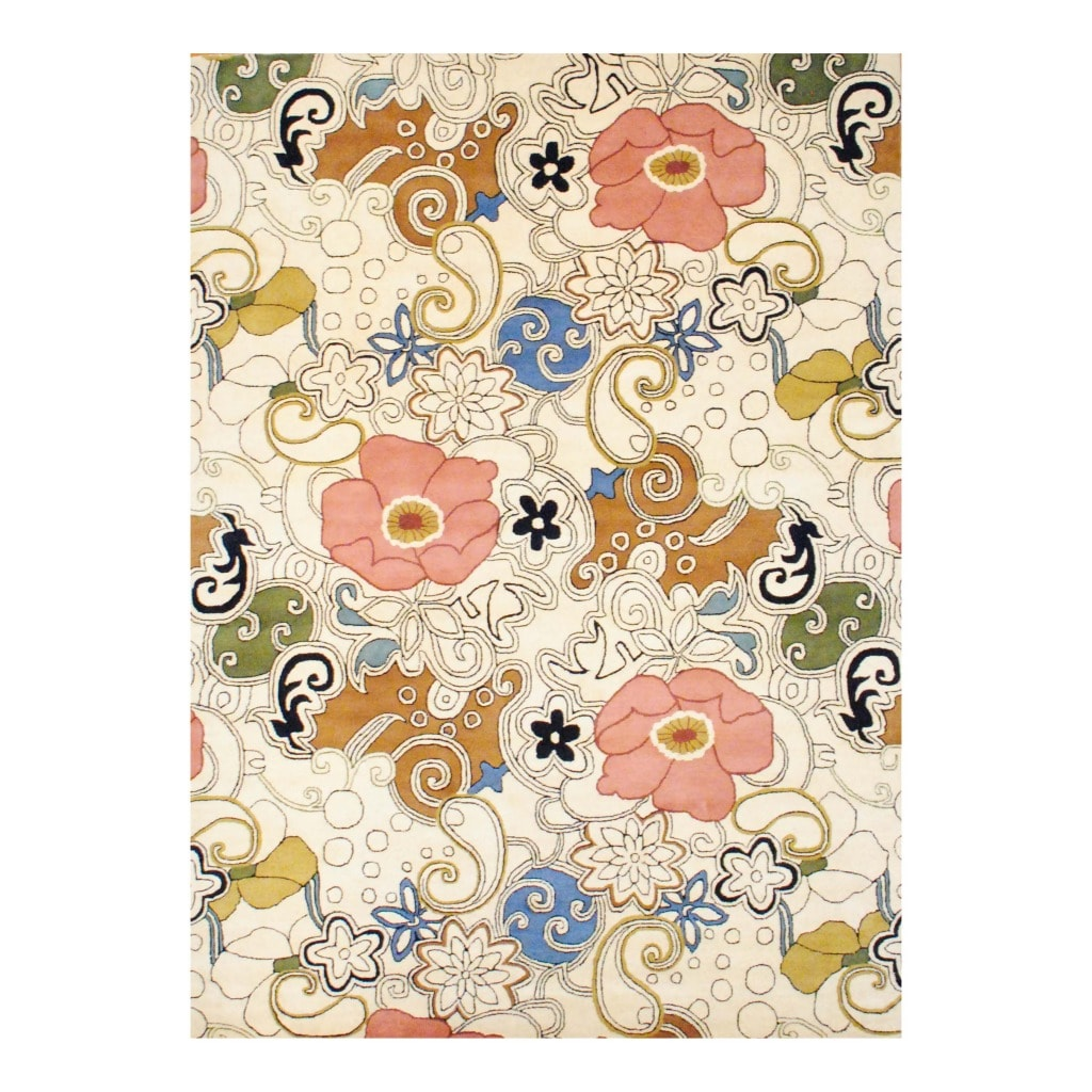Indo Hand-tufted Ivory/ Olive Wool Rug (8' x 11') (India)