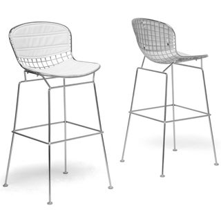 Tolland Modern Bar Stool with White Cushions (Set of 2)