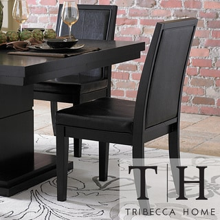 TRIBECCA HOME Weston Black Baseball Stitching Side Chairs (Set of 2)