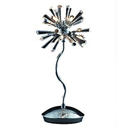 Modern 6-light 16-inch Polished Chrome Crystal Burst Table Lamp