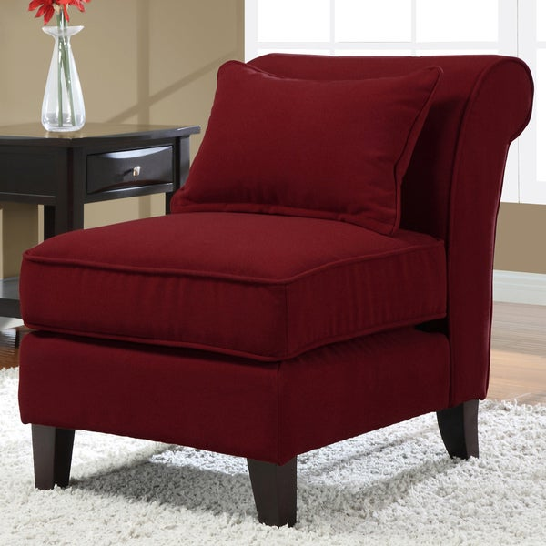 Slipper Red Fabric Armless Chair 14496240 Overstock