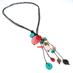 Cluster Multistone Rain Cotton Rope Necklace (Thailand)